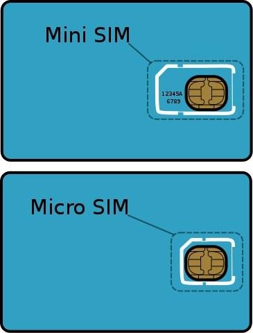 Größenvergleich Mini SIM und Micro SIM