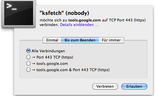 ksfetch (nobody) google Little Snitch