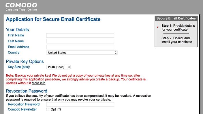 Kostenloses Comodo Email Zertifikat