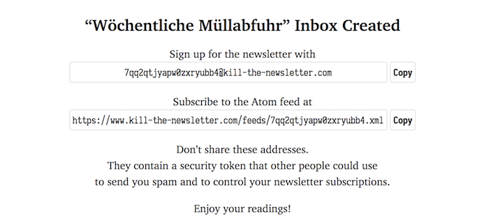 Kill the Newsletter - E-Mail, RSS, Atom