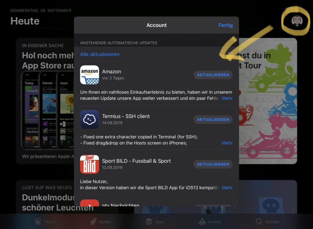 App Store Apps aktualisieren iOS13 iPadOS13