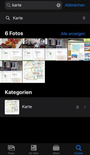 iPhone Fotos App Bilder durchsuchen