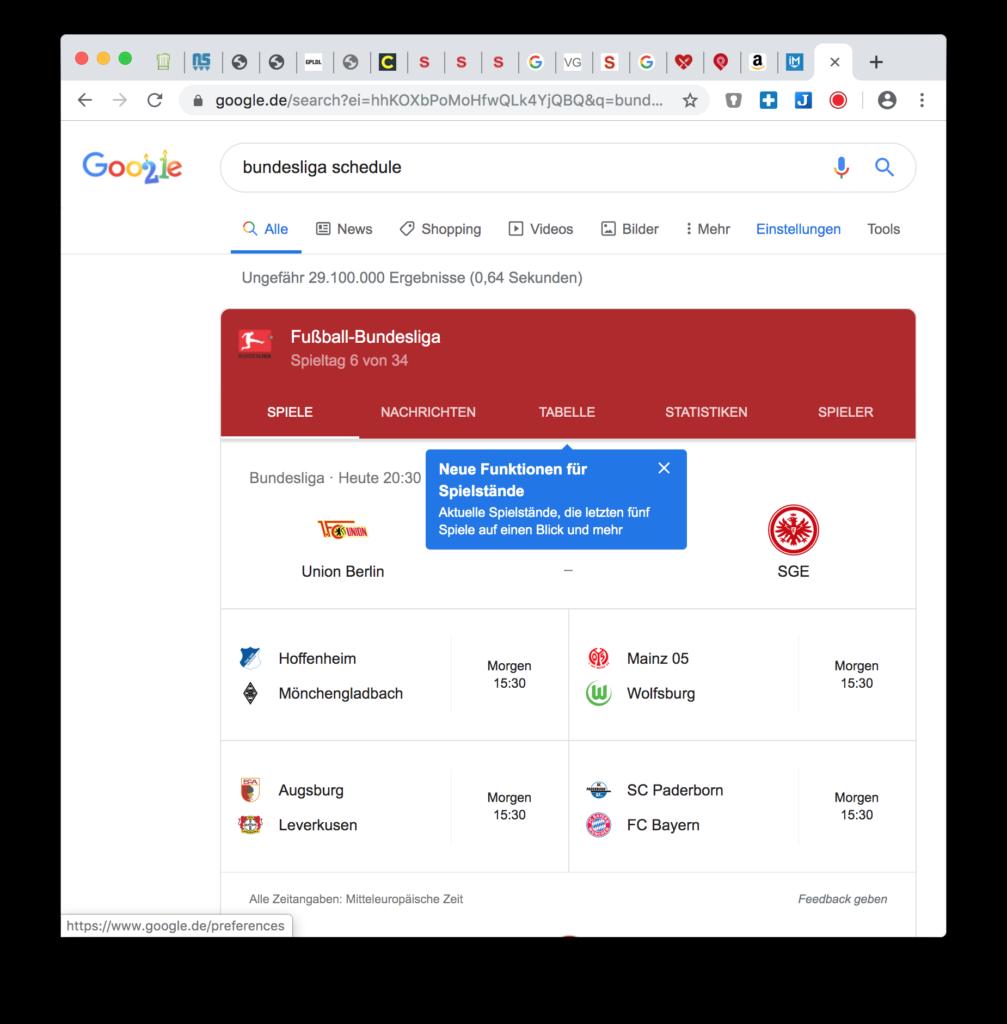 Google Hacks: Spielpaarung und Ergebnisse anzeigen (Bundesliga)