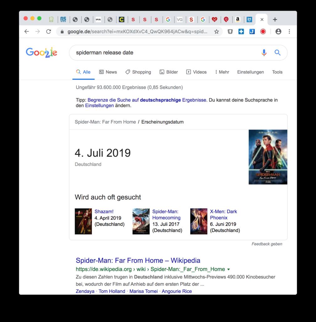 Google Hack: Filmstart suchen