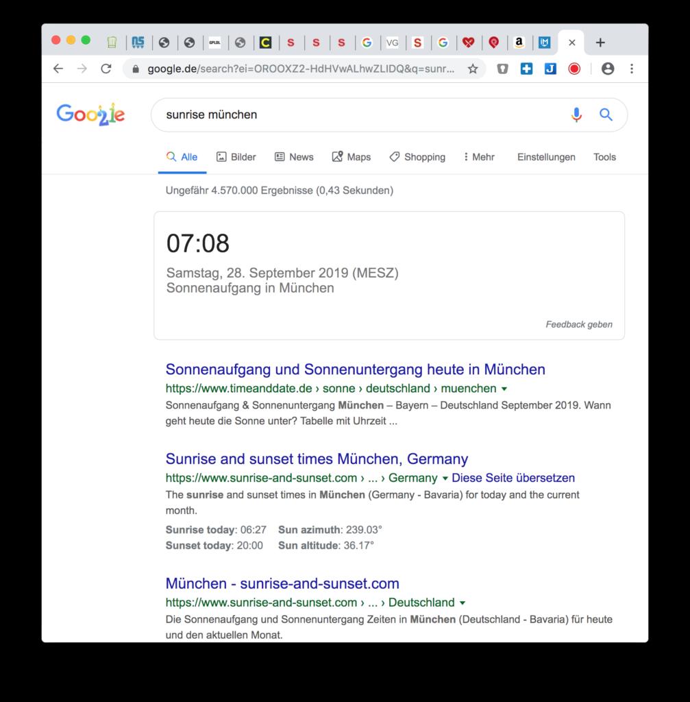 Google Hacks: Sonnenaufgang und Sonnenuntergang anzeigen