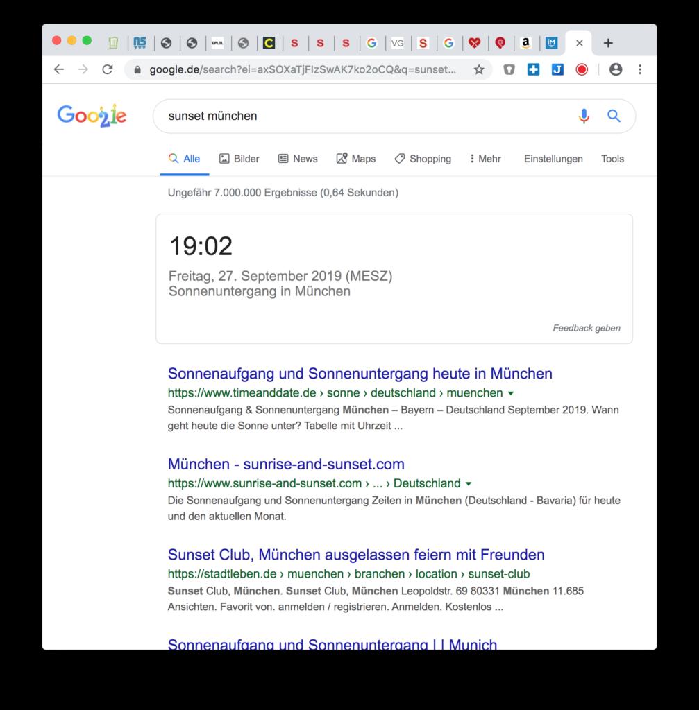 Google Hacks: Uhrzeit Sonnenuntergang anzeigen