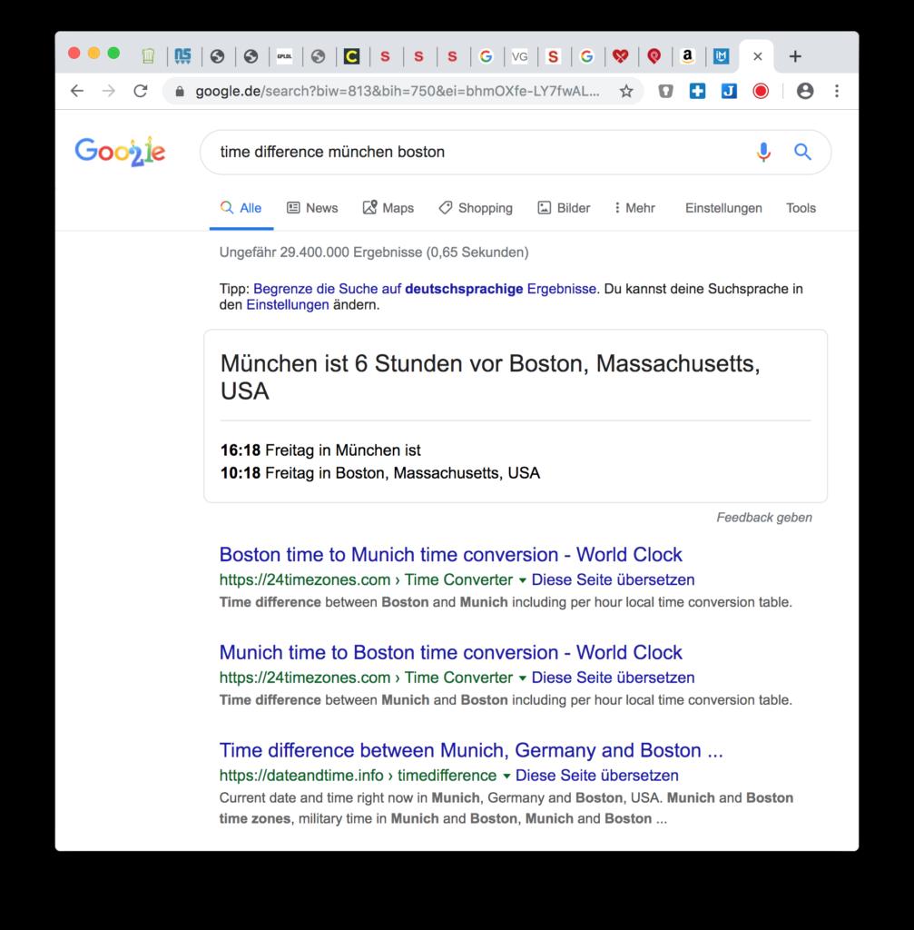 Google Hacks: Zeitunterschied zwischen zwei Städten anzeigen