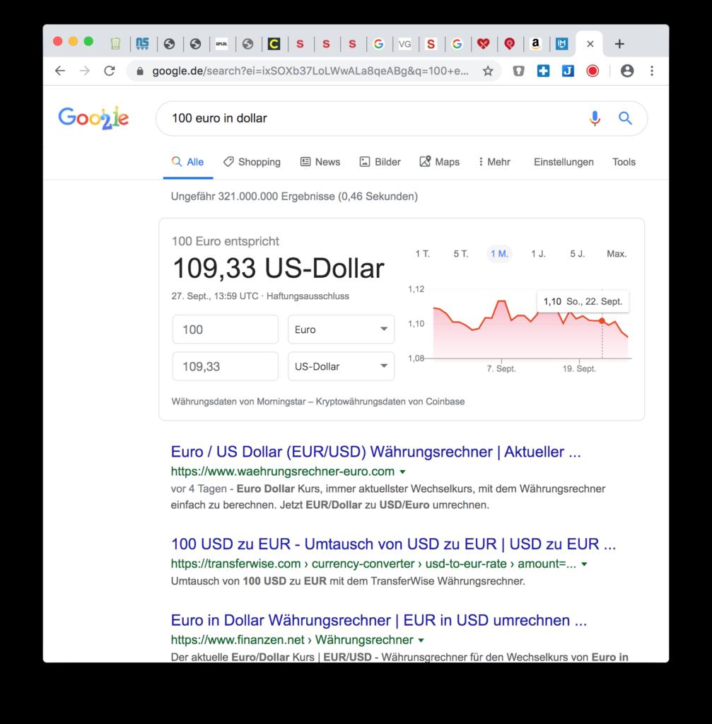 Google Hacks: Aktuelle Wechselkurse anzeigen